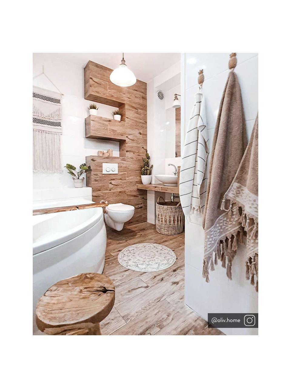 Ronde badmat Gaile in boho stijl, antislip, Bovenzijde: 100% katoen, Onderzijde: silicone, Bovenzijde: crèmekleurig, grijs gevlekt. Onderzijde: crèmekleurig, Ø 80 cm