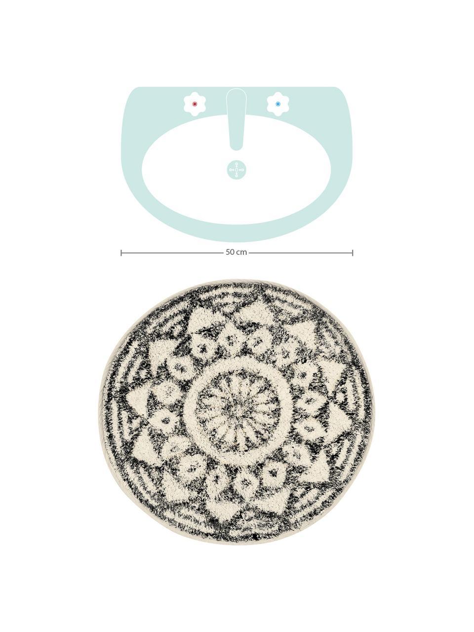 Runde Badematte Gaile im Boho Style, rutschfest, Flor: 100% Baumwolle, Vorderseite: Cremefarben, Grau meliertRückseite: Cremefarben, Ø 60 cm