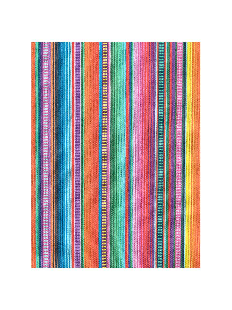 Gestreifte Kissenhülle Mariachi in Bunt, Webart: Halbpanama, Mehrfarbig, 40 x 40 cm