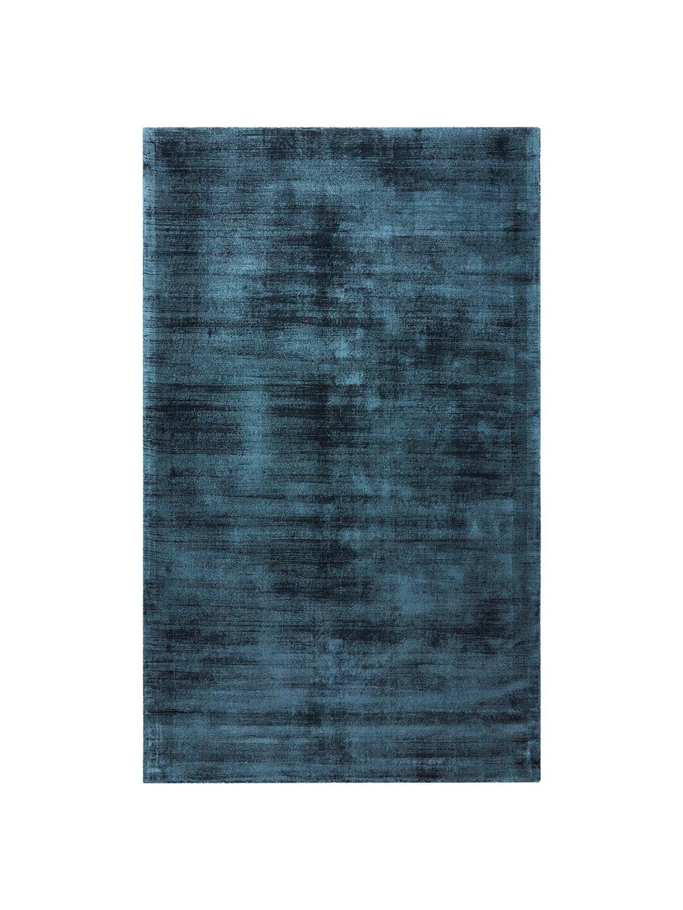 Tappeto in viscosa blu scuro tessuto a mano Jane, Retro: 100% cotone, Blu scuro, Larg.160 x Lung. 230 cm  (taglia M)