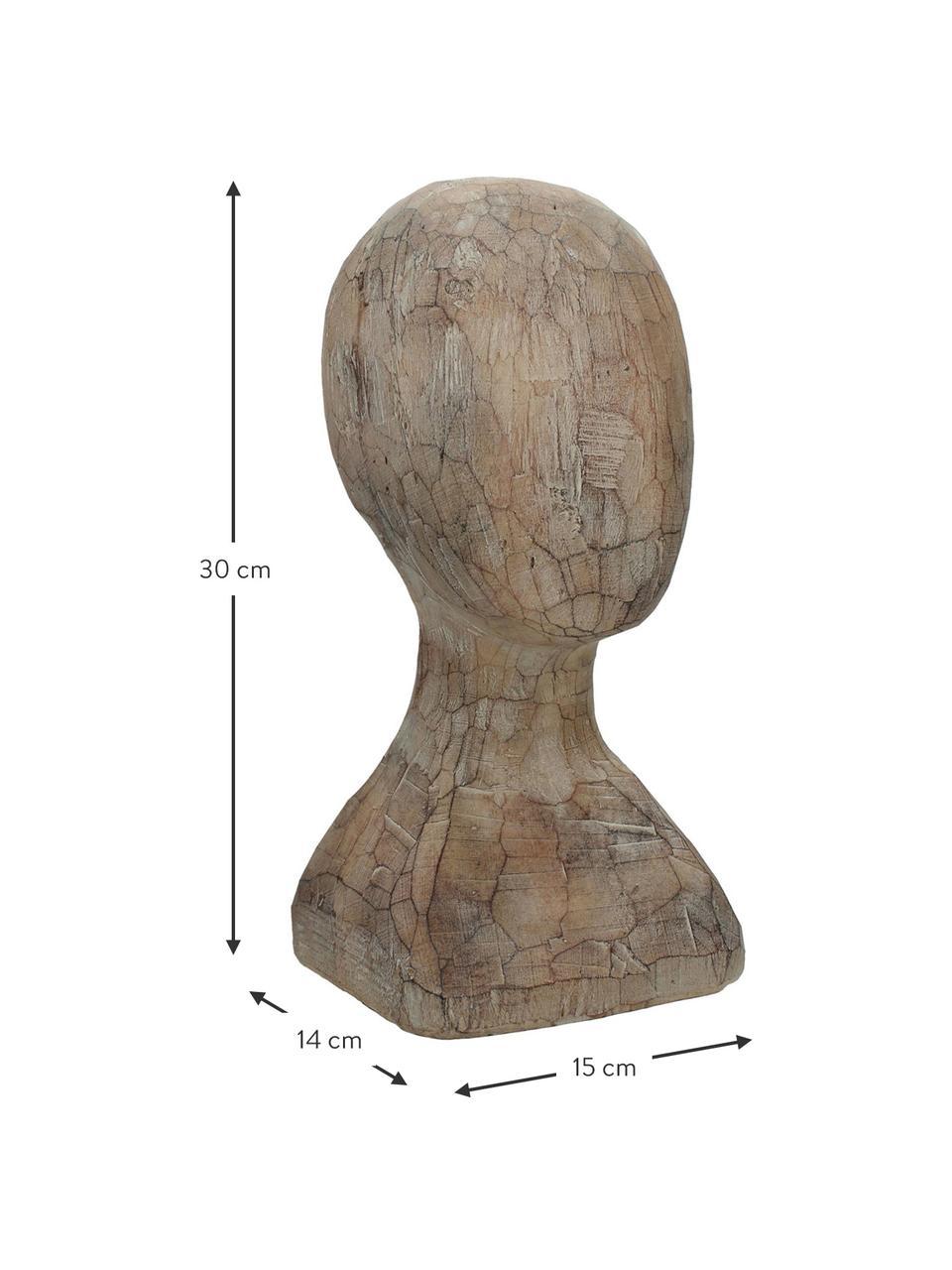 Deko-Objekt Head, Polyresin, Braun, 15 x 30 cm