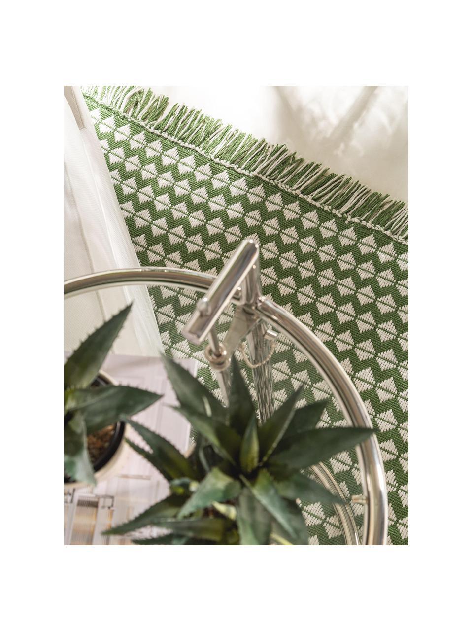 Dywan wewnętrzny/zewnętrzny Morty, 100% poliester (recyceltes PET), Zielony, złamana biel, S 80 x D 150 cm (Rozmiar XS)