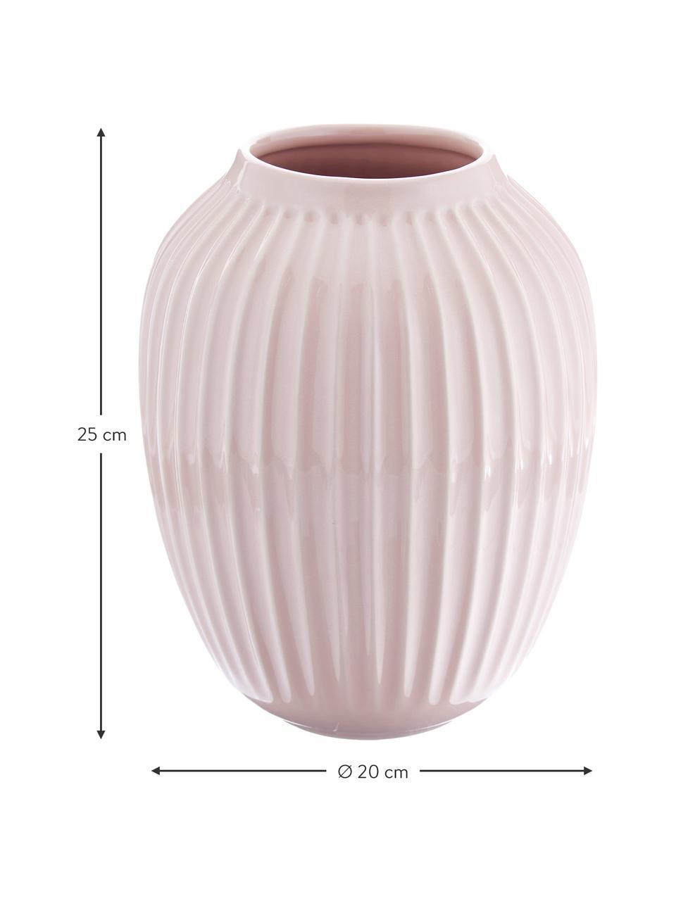 Handgemaakte design vaas Hammershøi, Porselein, Roze, Ø 20 x H 25 cm