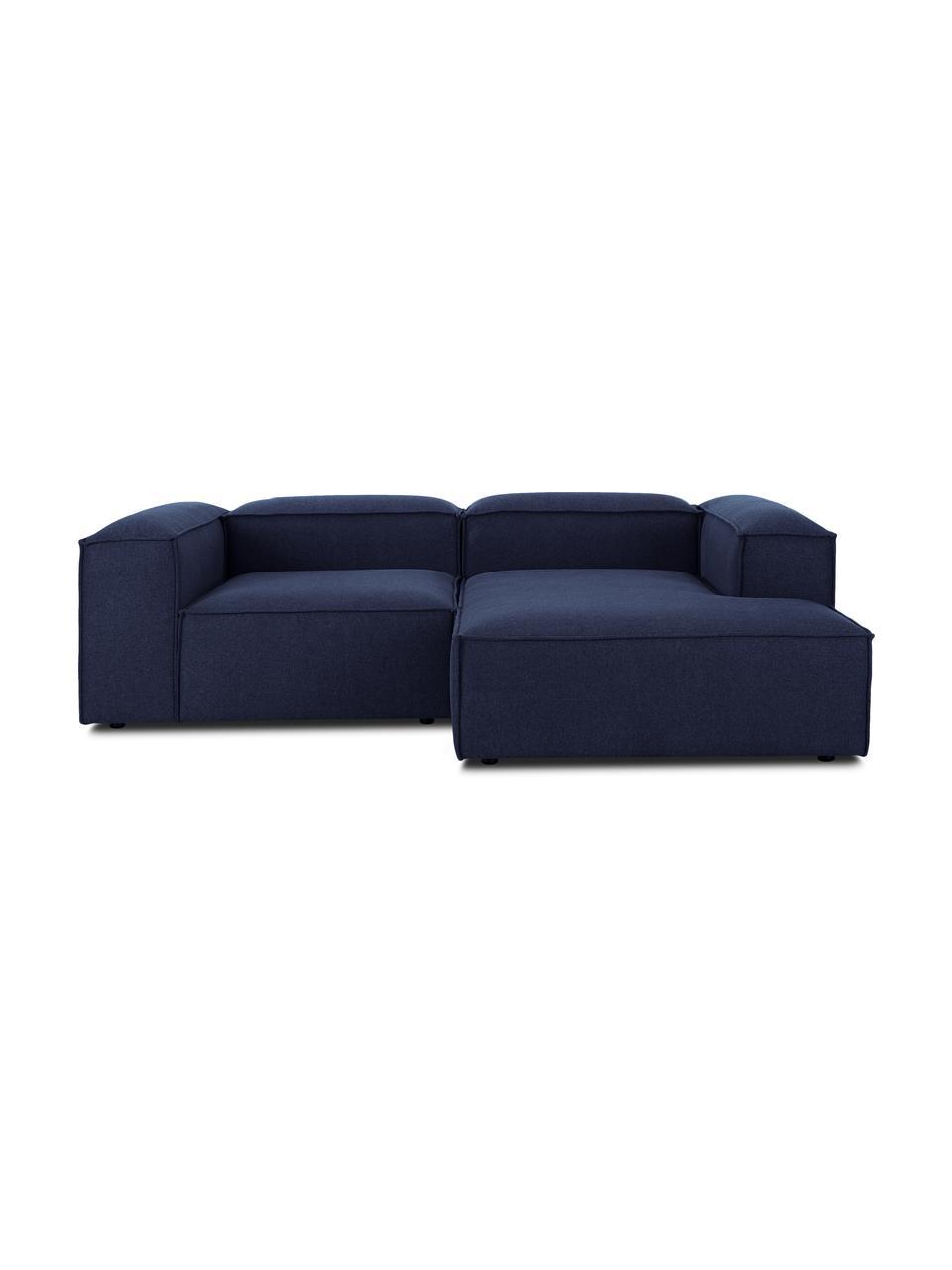 Narożna sofa modułowa Lennon, Tapicerka: 100% poliester Dzięki tka, Stelaż: lite drewno sosnowe, skle, Nogi: tworzywo sztuczne Nogi zn, Niebieski, S 238 x G 180 cm