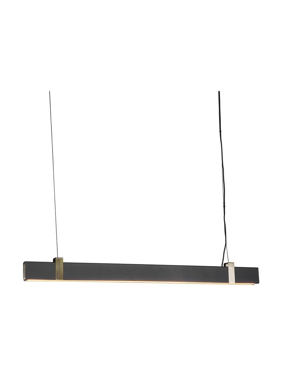 Große Dimmbare LED-Pendelleuchte Lilt, Lampenschirm: Metall, beschichtet, Dekor: Metall, Baldachin: Metall, beschichtet, Schwarz, 115 x 10 cm