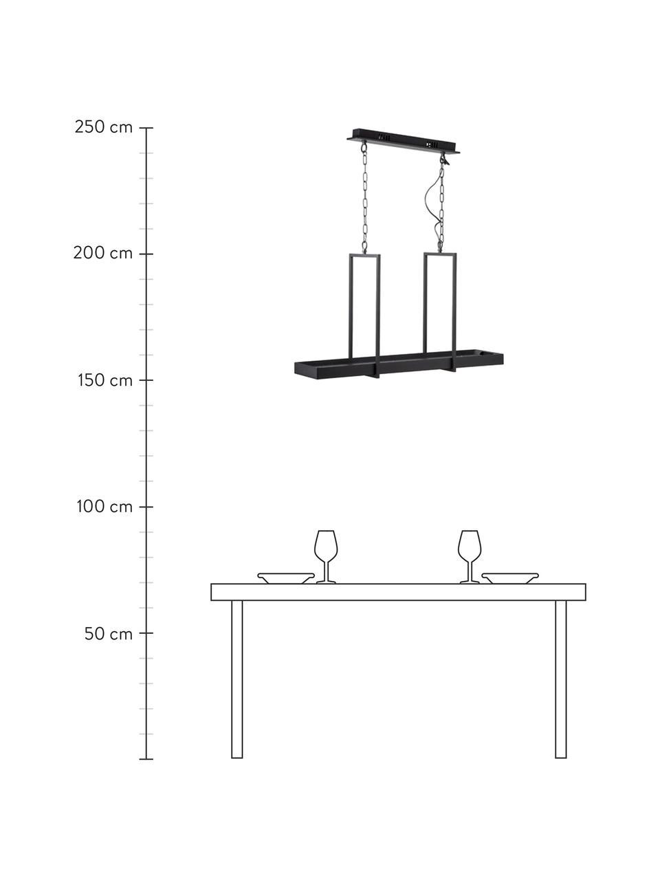 Duża lampa wisząca LED w stylu industrialnym Tray, Czarny, S 80 x W 50 cm