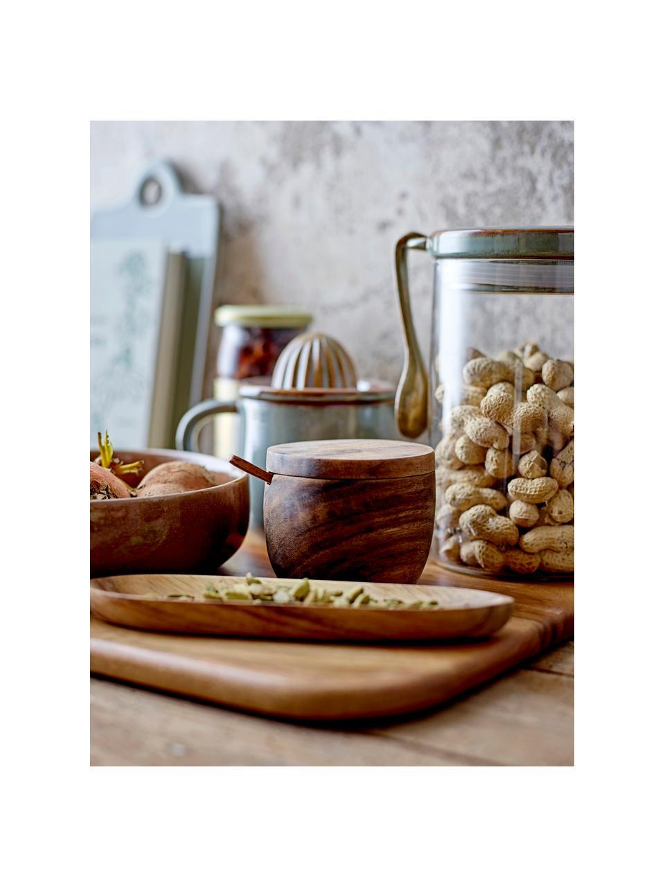 Sucrier bois de manguier avec petite cuillère Elfa, Brun