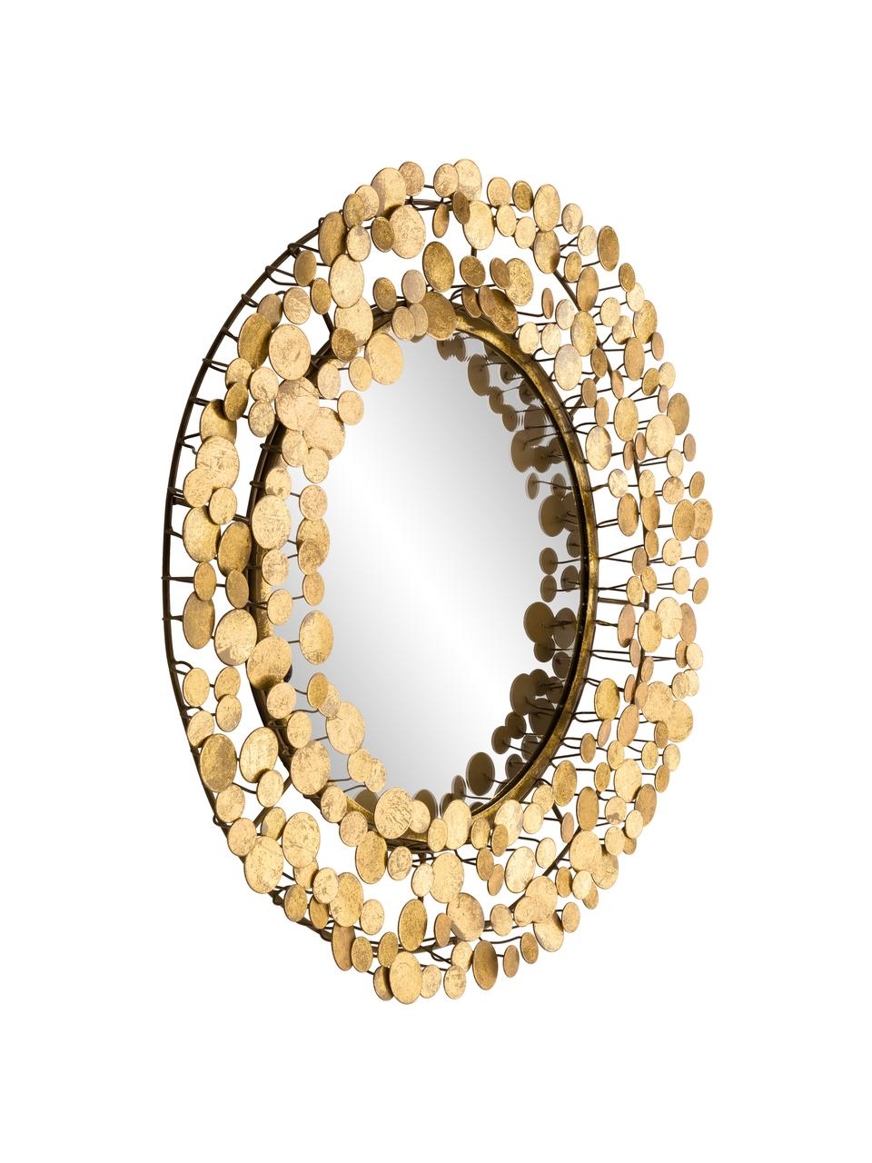 Specchio da parete Penny, Cornice: ferro con rivestimento in, Superficie dello specchio: lastra di vetro, Dorato, Ø 64 cm