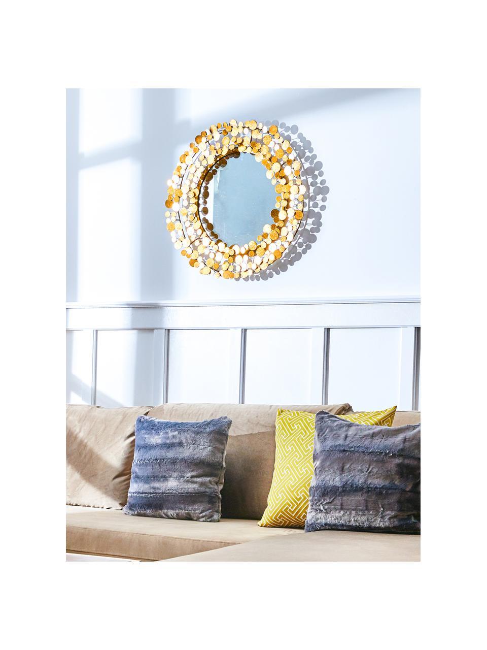 Runder Wandspiegel Penny mit gebürstetem Goldrahmen, Rahmen: Eisen mit goldfarbener Fo, Spiegelfläche: Spiegelglas, Goldfarben, Ø 64 cm