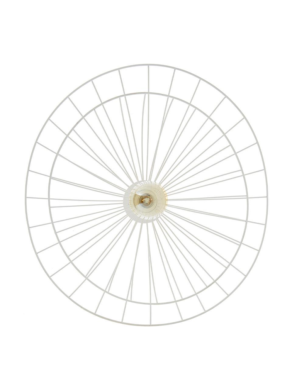 Große Decken- und Wandleuchte Ray, Lampenschirm: Metall, Weiß, Ø 60 x H 20 cm