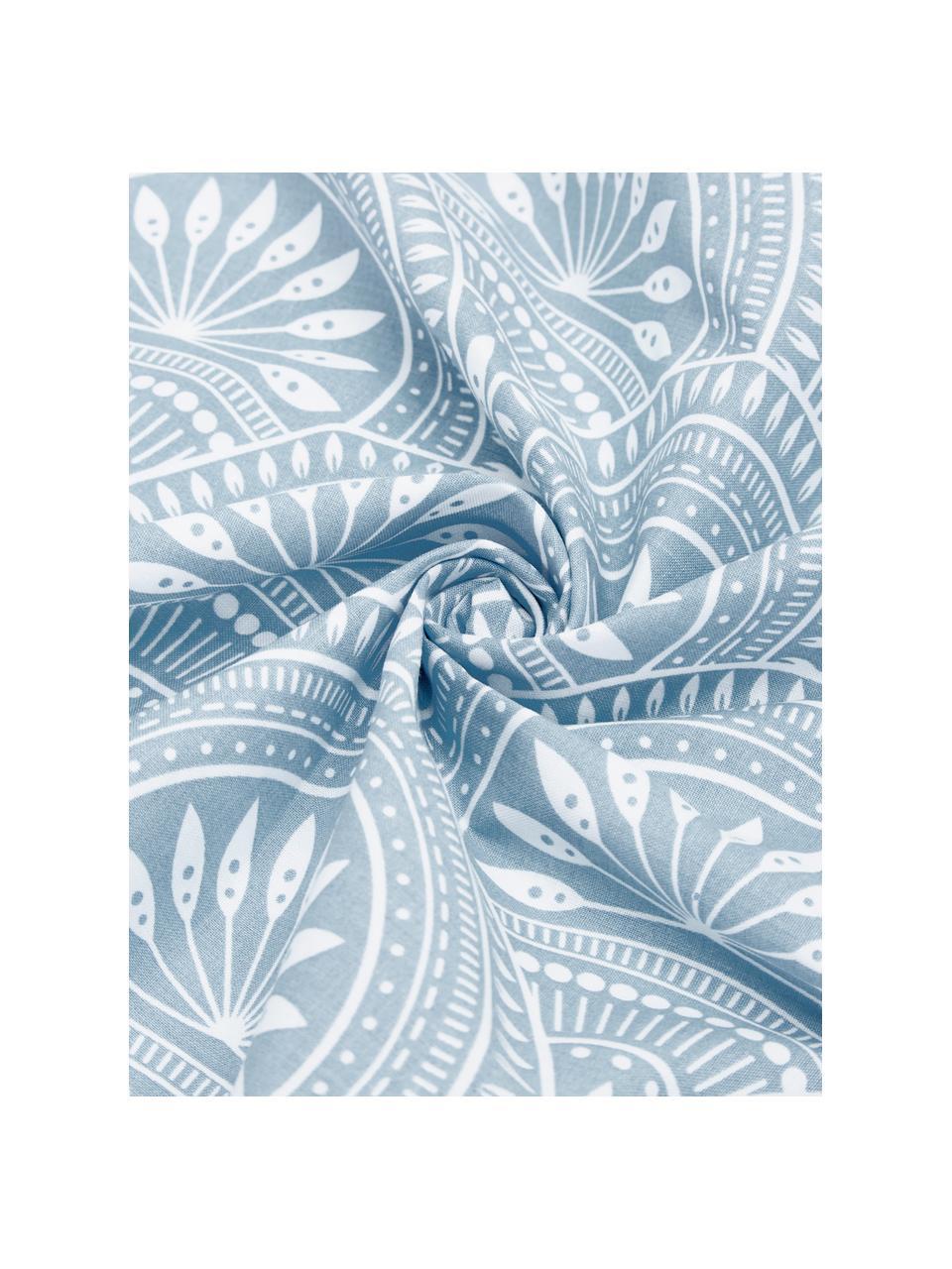 Dwustronna pościel z bawełny organicznej Poliana, Niebieski, biały, 200 x 200 cm + 2 poduszki 80 x 80 cm