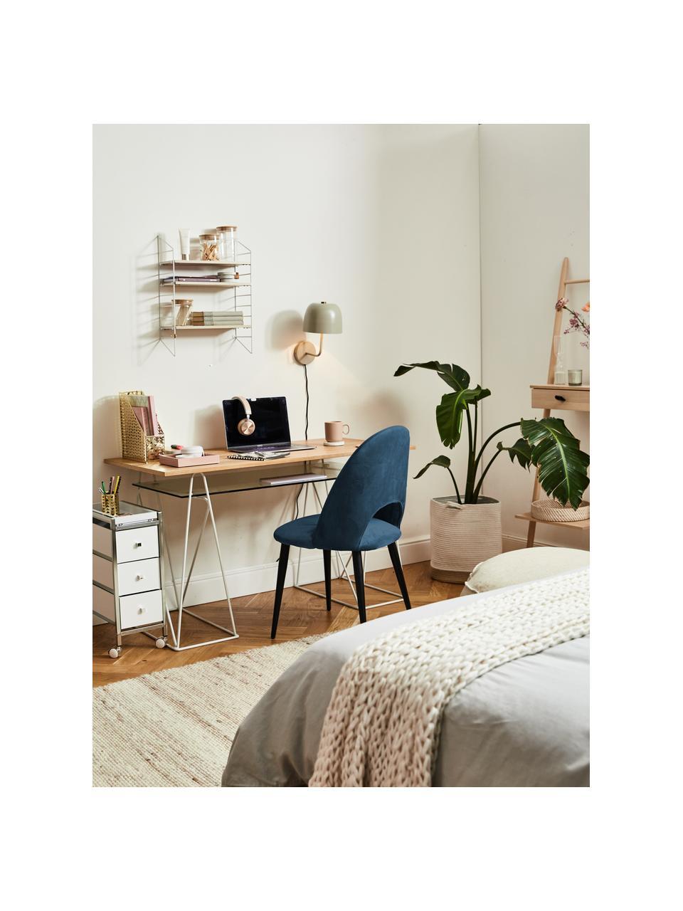 Krzesło tapicerowane z aksamitu Rachel, Tapicerka: aksamit (100% poliestr) D, Nogi: metal malowany proszkowo, Aksamitny ciemny niebieski, S 53 x G 57 cm