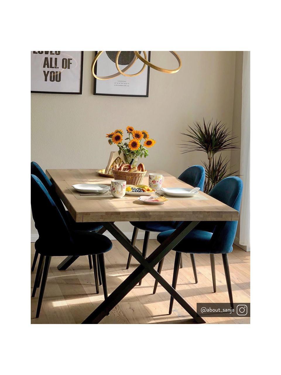 Fluwelen stoel Rachel in donkerblauw, Bekleding: fluweel (hoogwaardig poly, Poten: gepoedercoat metaal, Donkerblauw, B 53 x D 57 cm