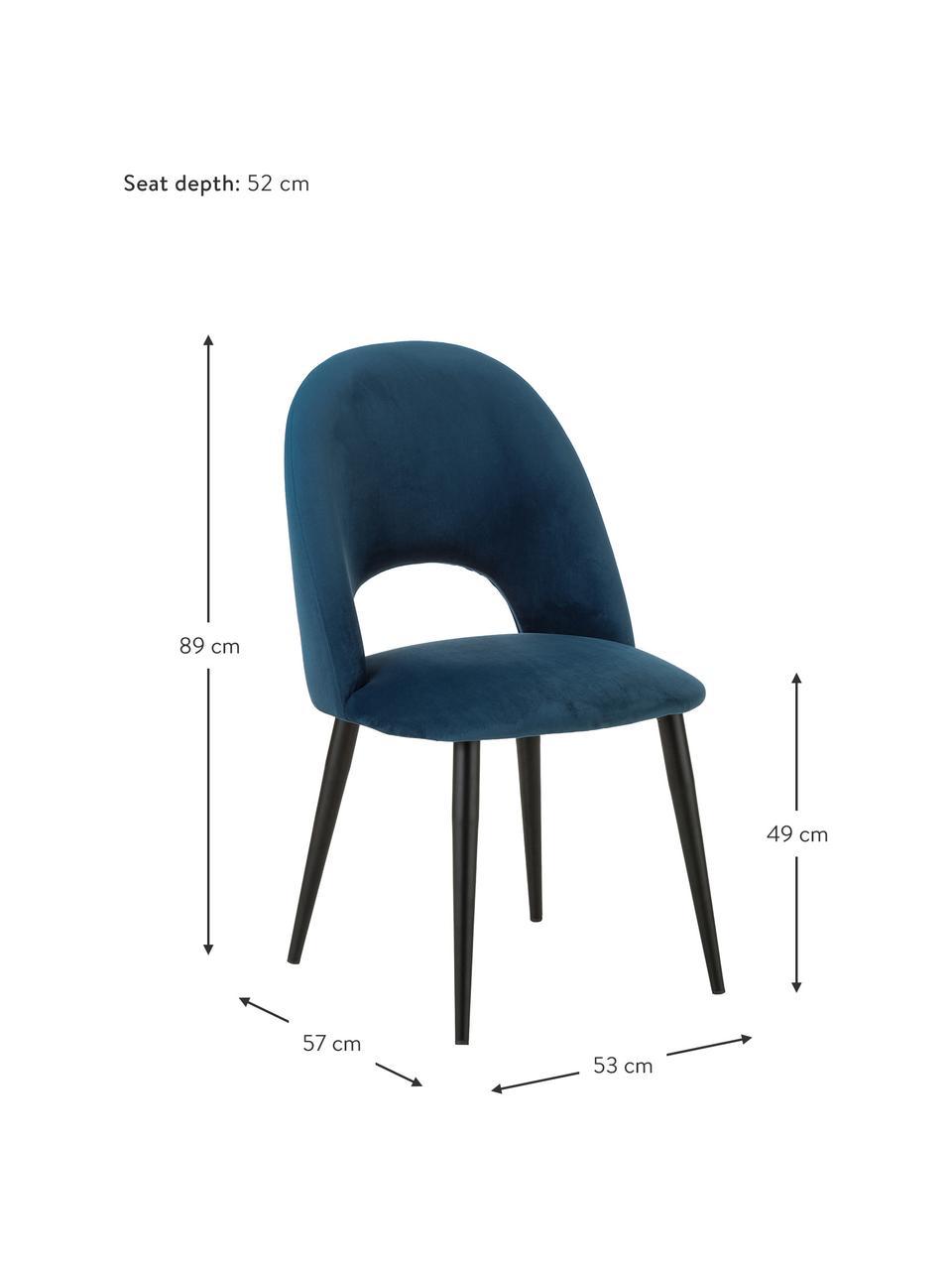 Fluwelen stoel Rachel in donkerblauw, Bekleding: fluweel (hoogwaardig poly, Poten: gepoedercoat metaal, Fluweel donkerblauw, B 53 x D 57 cm