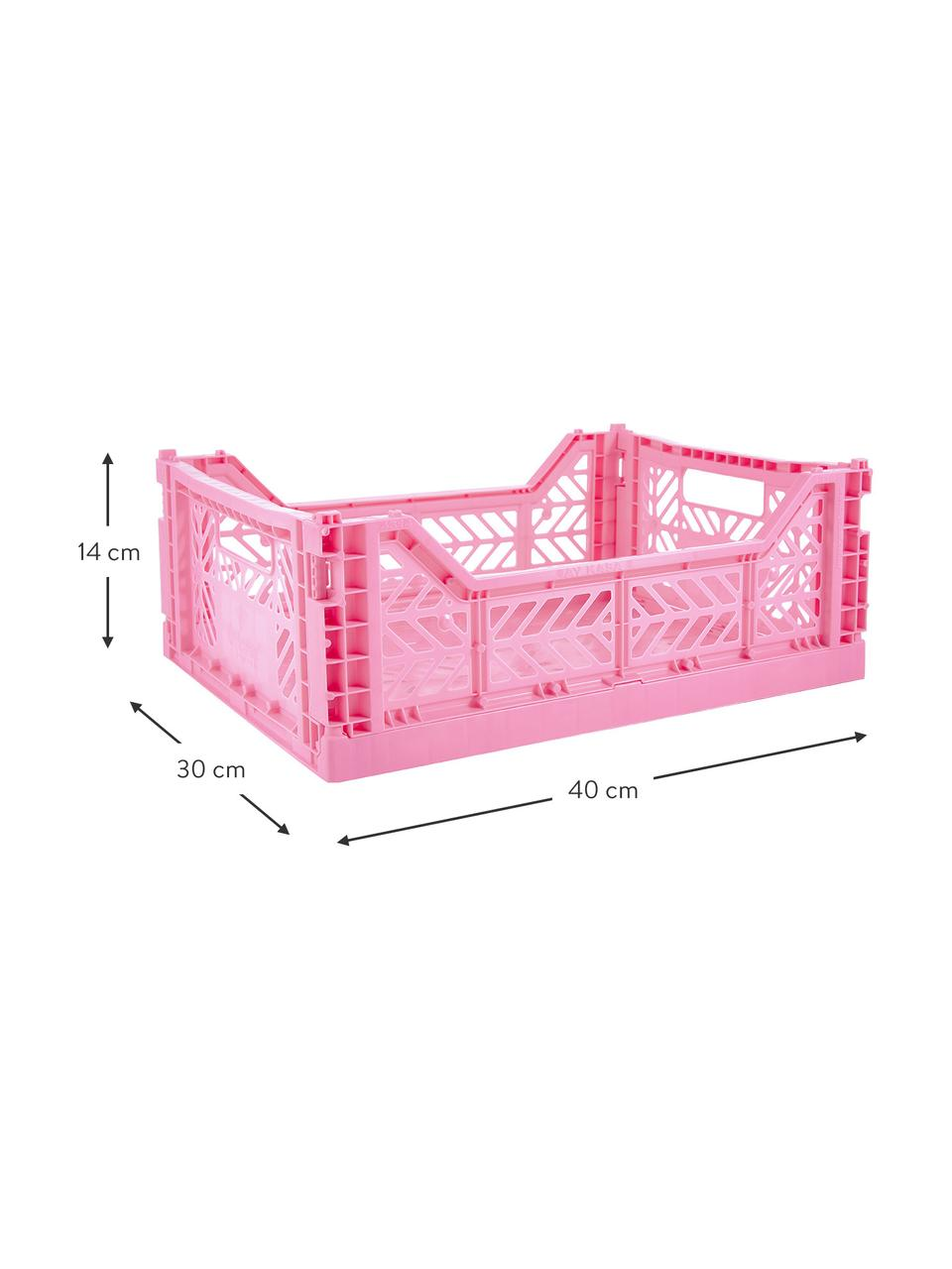 Caisse pliable de taille moyenne Baby Pink, empilable, Rose vif