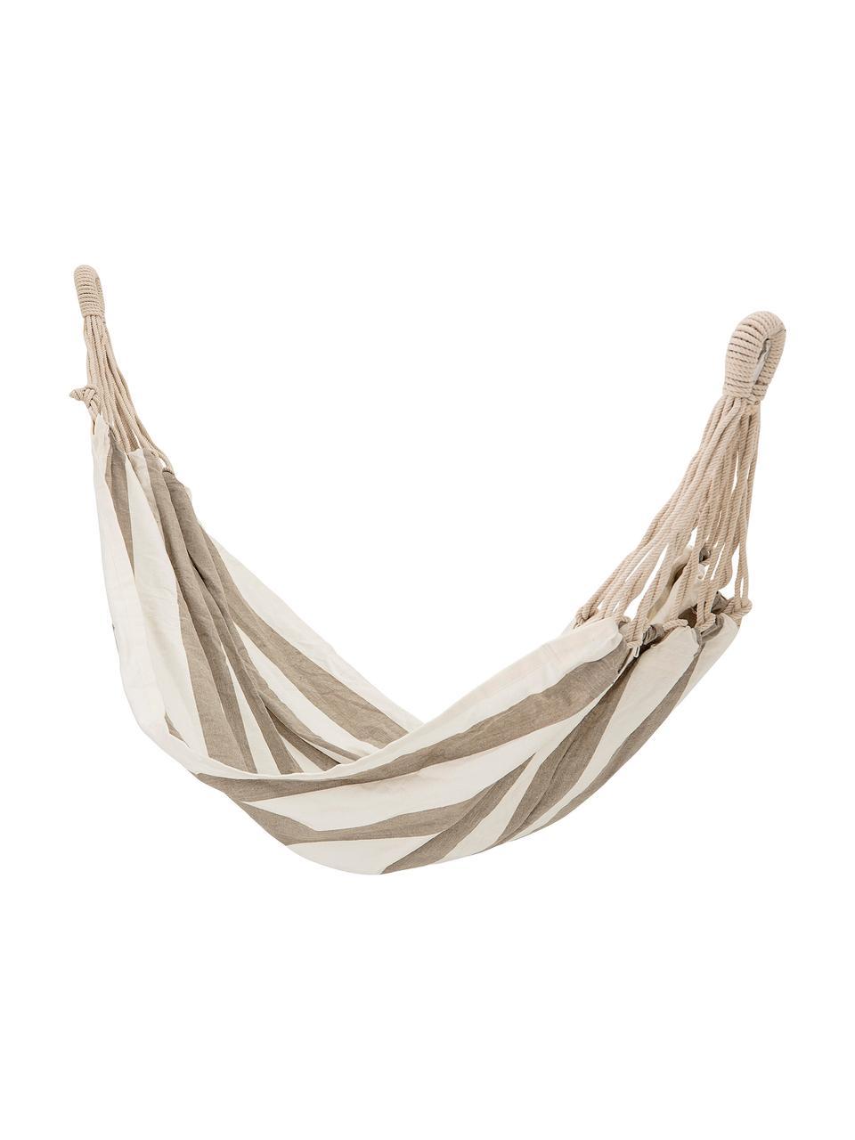 Amaca in cotone con motivo a righe Lazy, Cotone, Bianco, beige, Larg. 100 x Lung. 270 cm