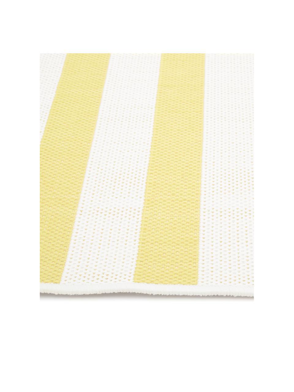 Gestreifter In- & Outdoor-Teppich Axa in Gelb/Weiß, Flor: 100% Polypropylen, Cremeweiß, Gelb, B 160 x L 230 cm (Größe M)