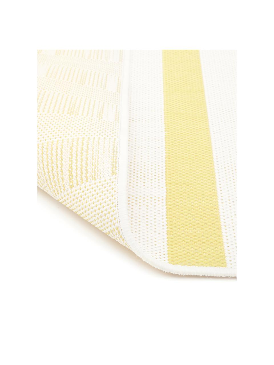 Tappeto giallo/bianco a righe da interno-esterno Axa, 86% polipropilene, 14% poliestere, Bianco crema, giallo, Larg. 200 x Lung. 290 cm (taglia L)