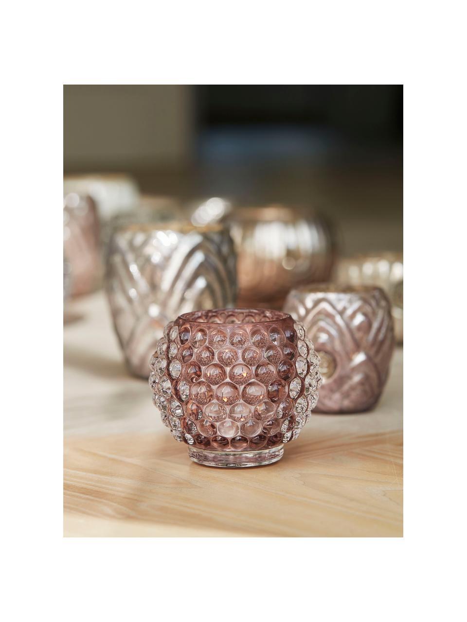 Bougeoir en verre fait main Doria, Rose, transparent