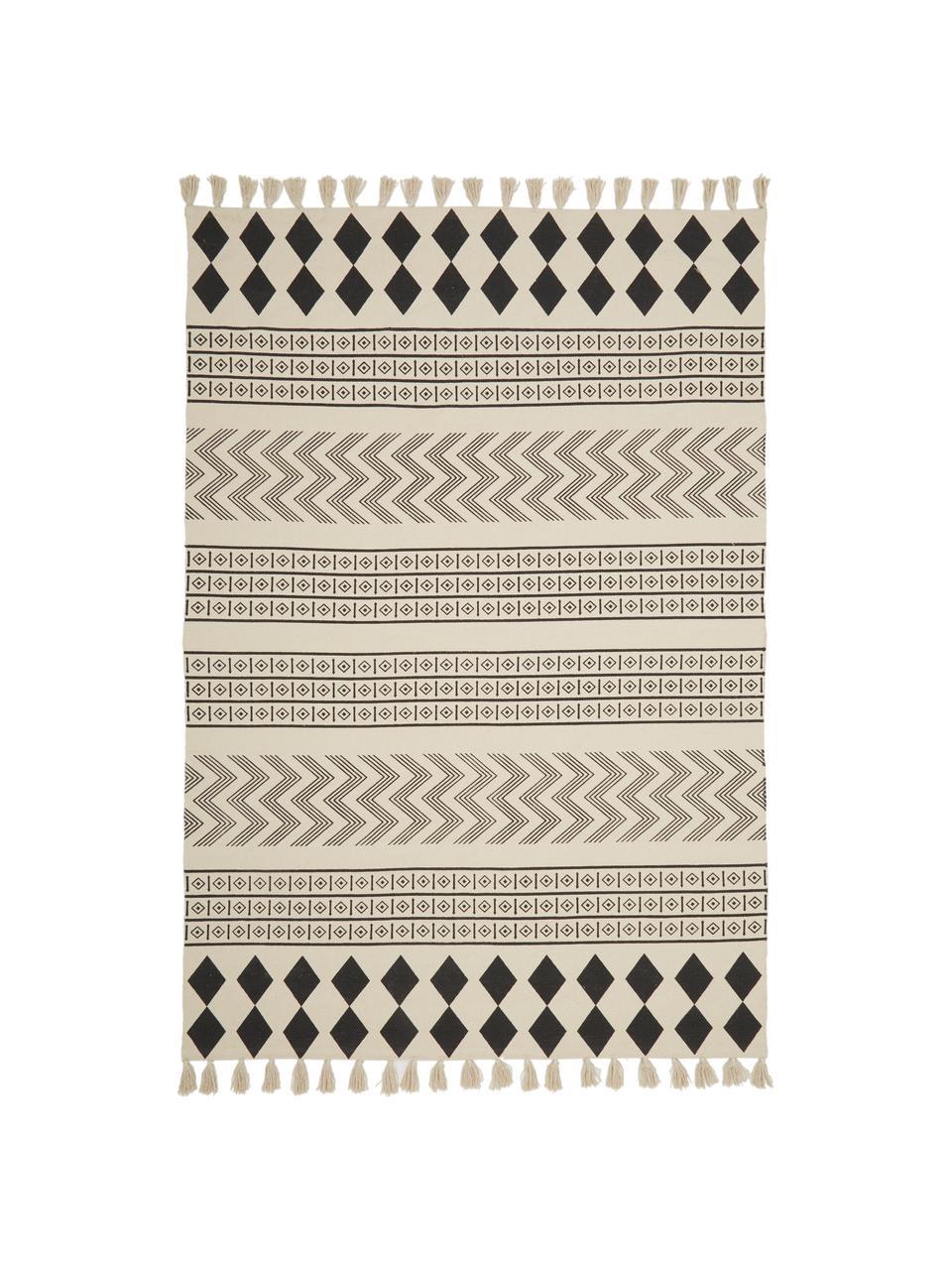 Handgeweven katoenen vloerkleed Edna in ethno stijl, 100% katoen, Crèmewit, zwart, 80 x 150 cm