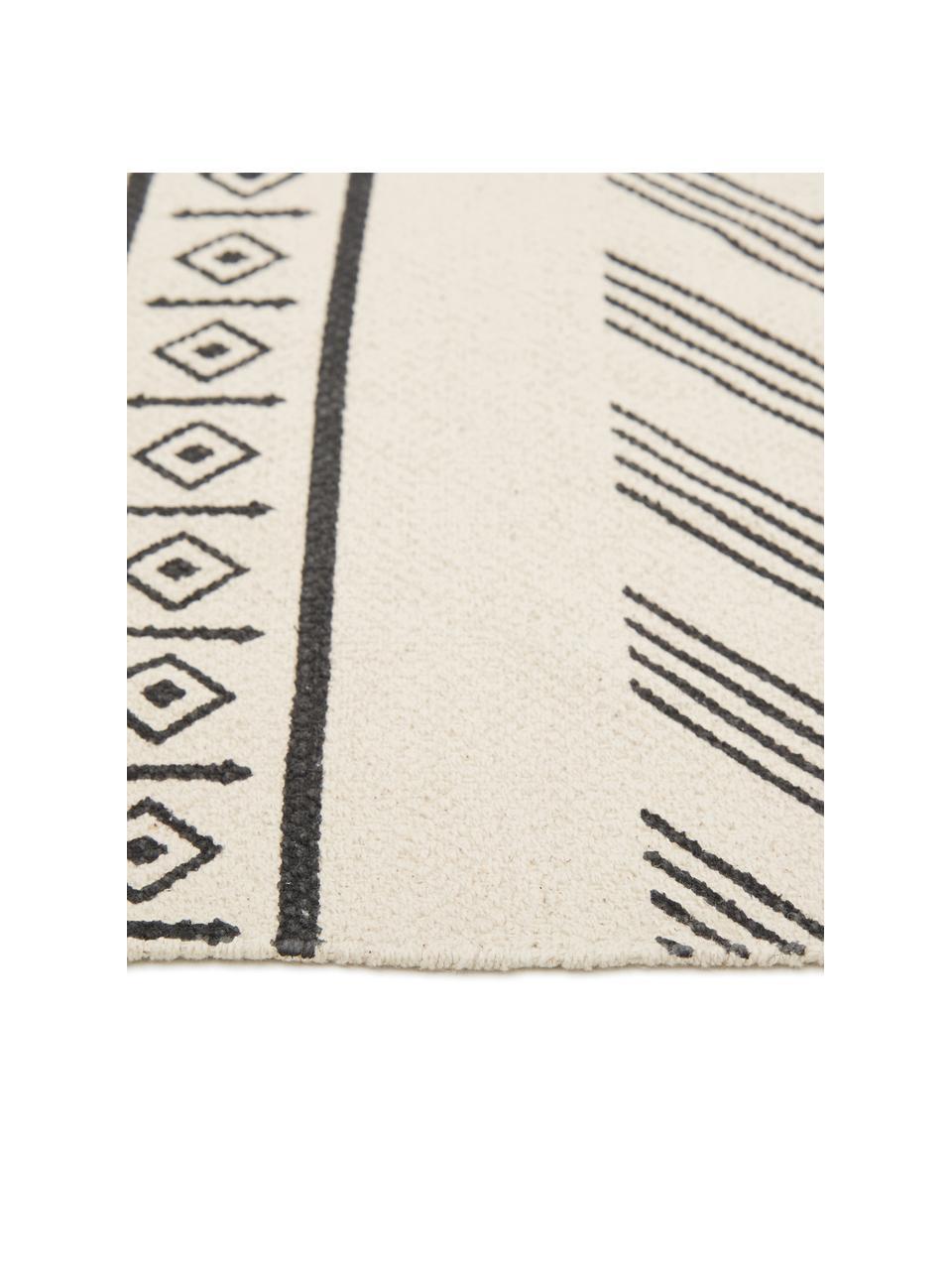 Tappeto etnico in cotone tessuto a mano Edna, 100% cotone, Bianco crema, nero, Larg. 160 x Lung. 230 cm (taglia M)