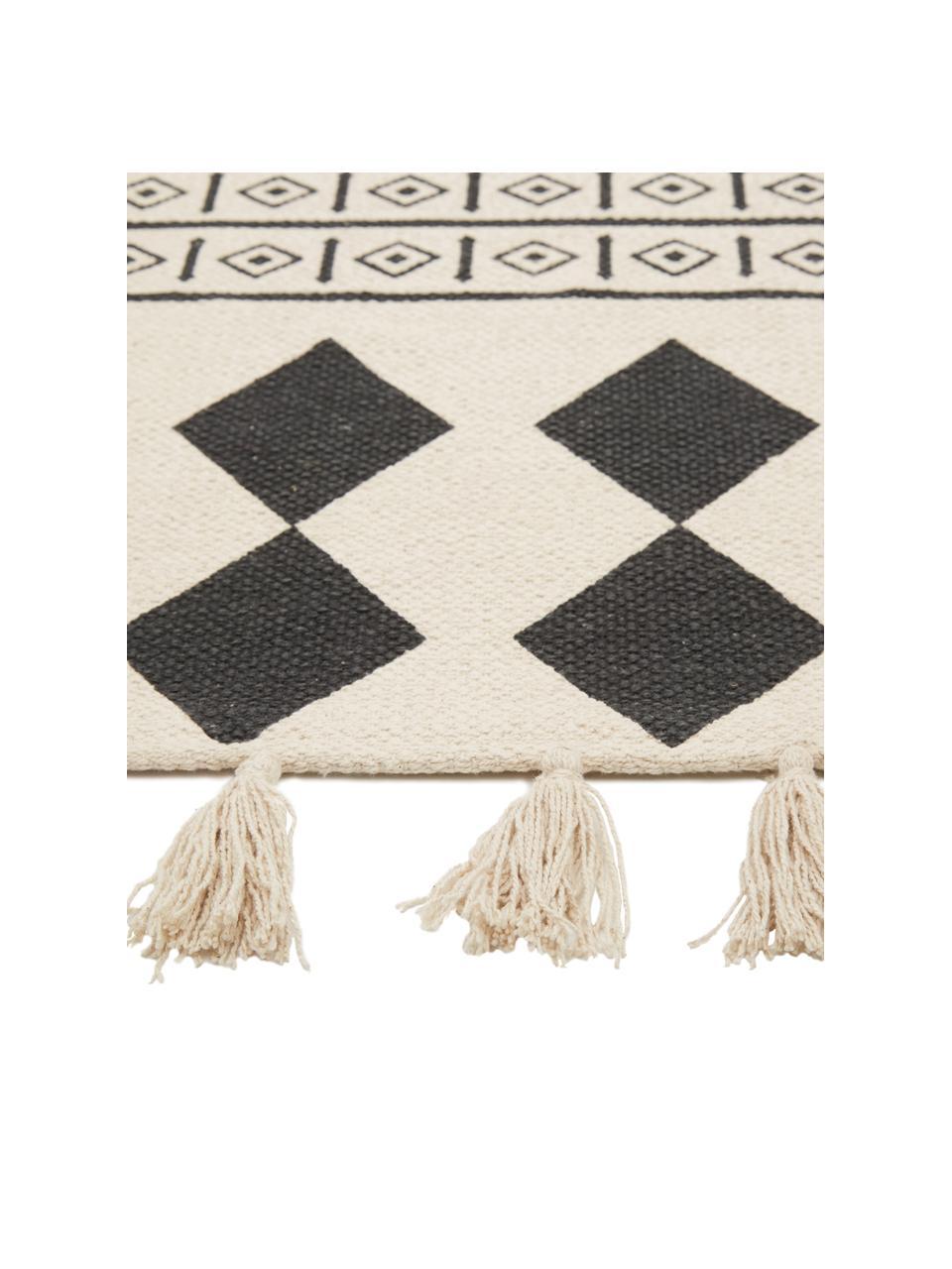 Tapis coton tufté main style ethnique Edna, Blanc crème, noir