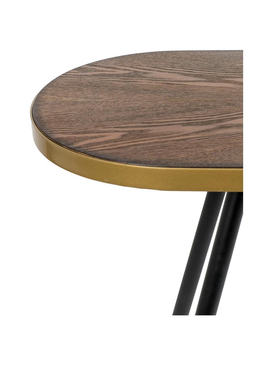 Konsola z owalnym blatem Denise, Blat: płyta pilśniowa (MDF) z f, Drewno jesionowe, odcienie złotego, S 121 x G 41 cm