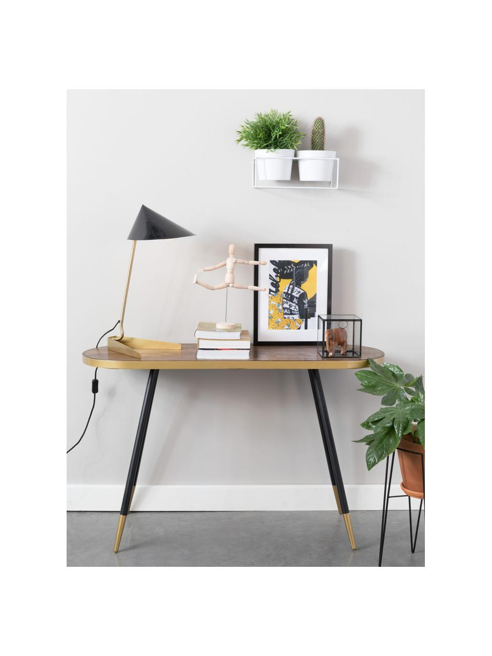 Konzolový stolek soválnou deskou Denise, Jasanové dřevo, zlatá