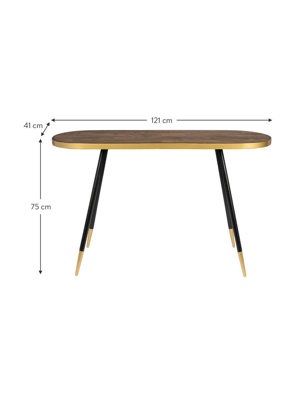 Consolle con piano ovale Denise, Piano d'appoggio: pannello di fibra a media, Legno di frassino, dorato, Larg. 121 x Prof. 41 cm