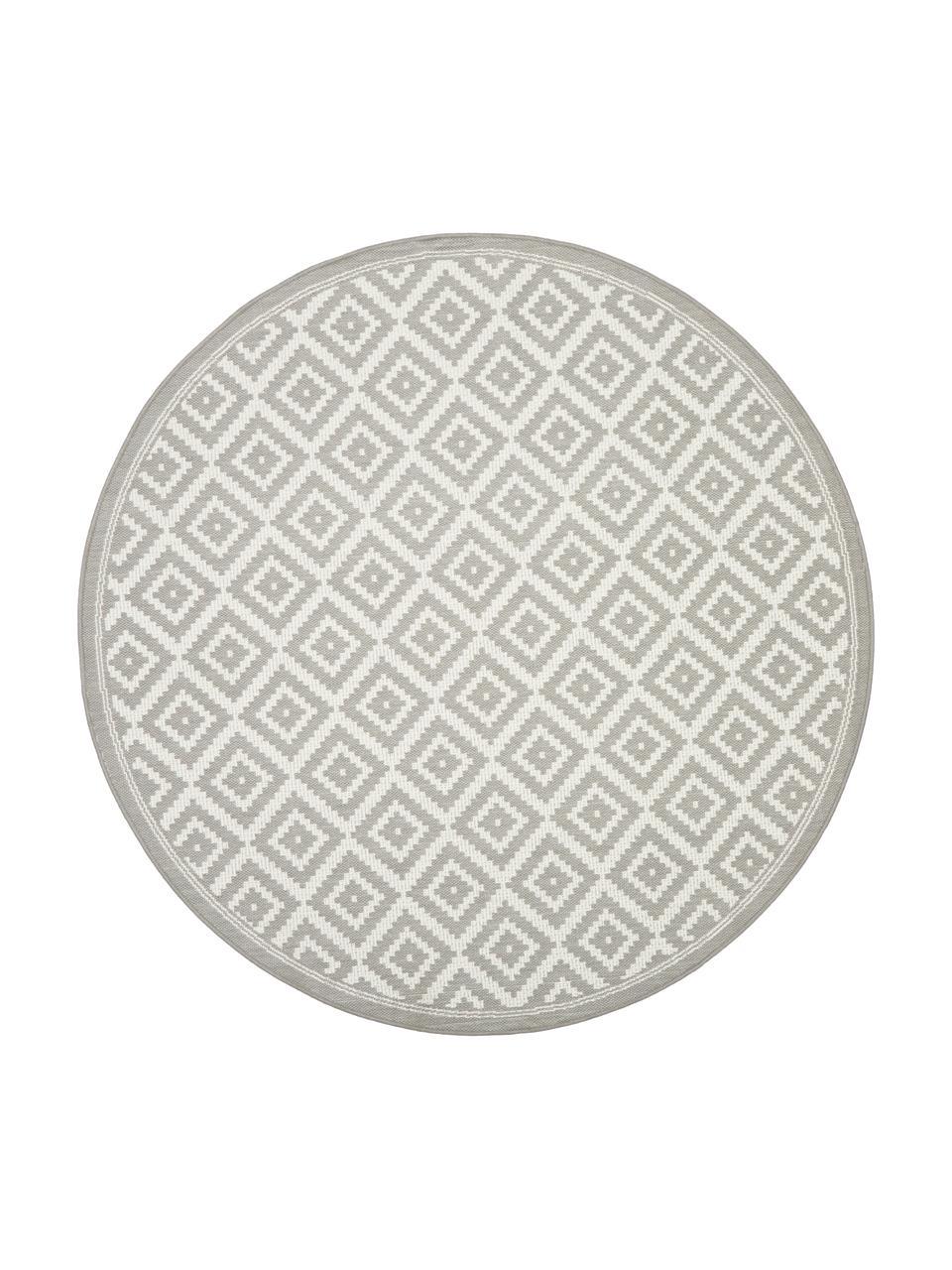 Tappeto rotondo fantasia color grigio/bianco da interno-esterno Miami, 86% polipropilene, 14% poliestere, Bianco, grigio, Ø 200 cm (taglia L)