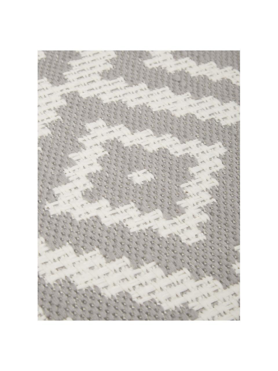 Gemusterter In- & Outdoor-Teppich Miami in Grau/Weiß, 86% Polypropylen, 14% Polyester, Weiß, Grau, Ø 200 cm (Größe L)