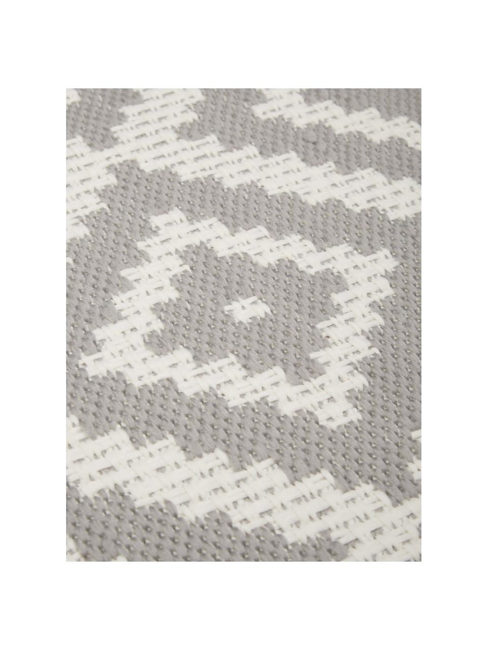 Okrągły dywan wewnętrzny/zewnętrzny Miami, 86% polipropylen, 14% poliester, Biały, szary, Ø 200 cm (Rozmiar L)