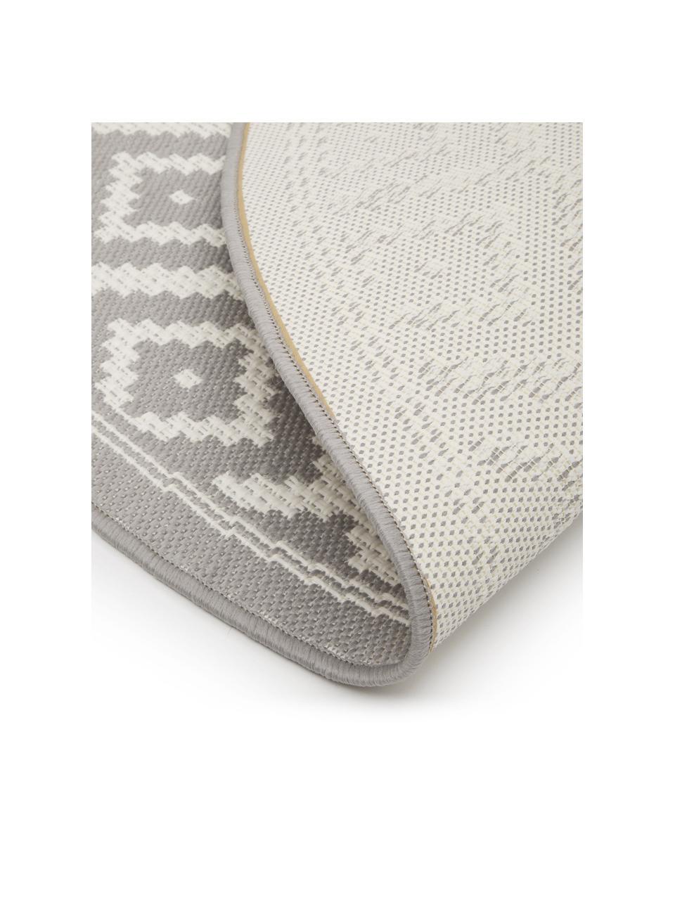 Tappeto rotondo grigio/bianco da interno-esterno Miami, 86% polipropilene, 14% poliestere, Bianco, grigio, Ø 200 cm (taglia L)