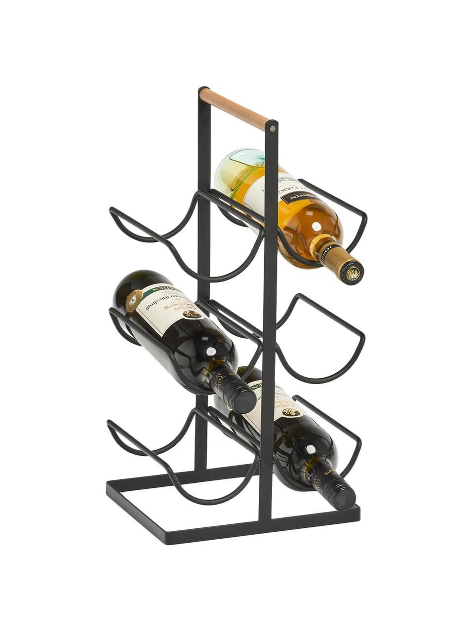 Casier à vin pour 6 bouteilles Hadena, Noir, bois