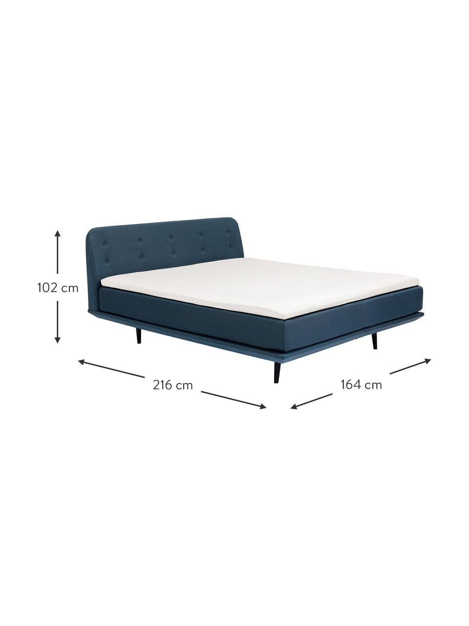 Gestoffeerd bed Luna in blauw, Frame: massief gelakt beukenhout, Bekleding: 100% polyester, Poten: massief gelakt beukenhout, Geweven stof blauw, 180 x 200 cm