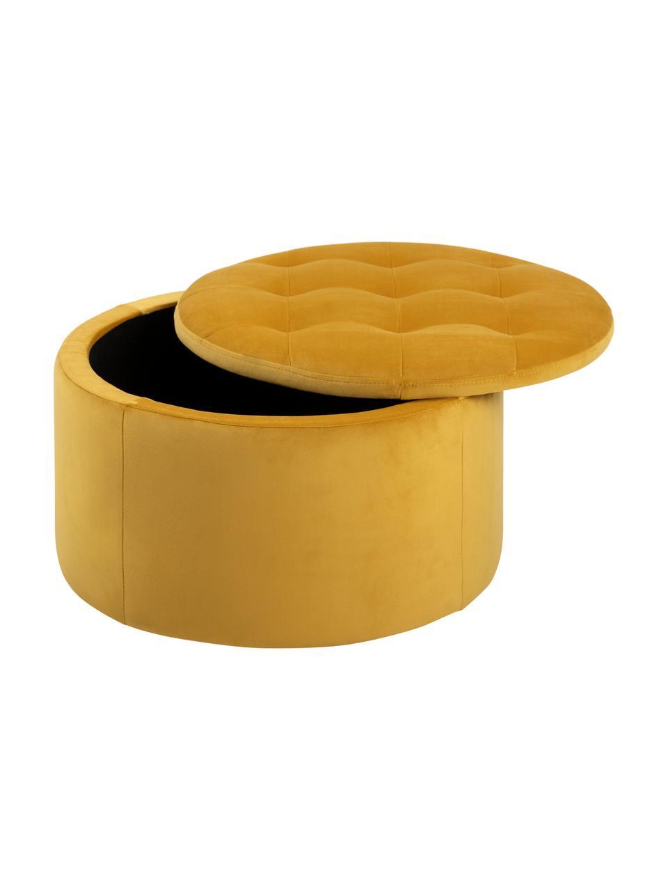 Puf z aksamitu z miejscem do przechowywania Retina, Aksamit poliestrowy, Żółty, Ø 60 x W 35 cm
