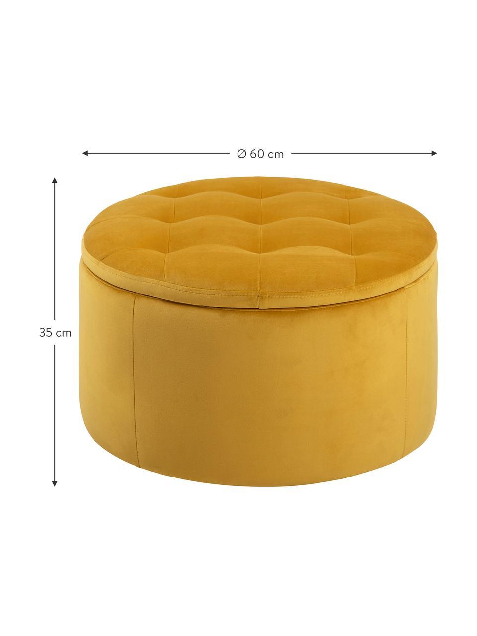 Pouf contenitore in velluto giallo Retina, Rivestimento: velluto di poliestere 25., Struttura: materiale sintetico, Giallo, Ø 60 x Alt. 35 cm