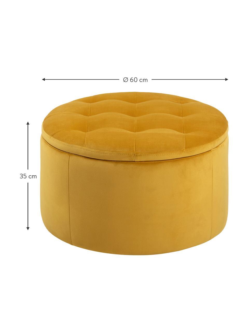 Samt-Hocker Retina mit Stauraum in Gelb, Bezug: Polyestersamt 25.000 Sche, Gestell: Kunststoff, Gelb, Ø 60 x H 35 cm