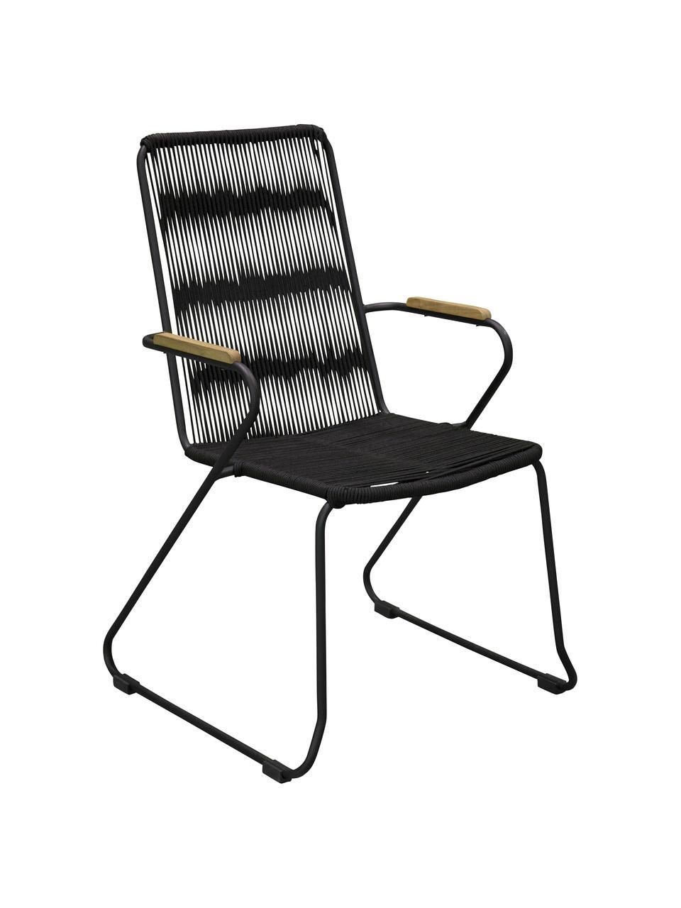 Krzesło ogrodowe z podłokietnikami Bois, 2 szt., Stelaż: metal lakierowany, Czarny, brązowy, S 60 x G 63 cm