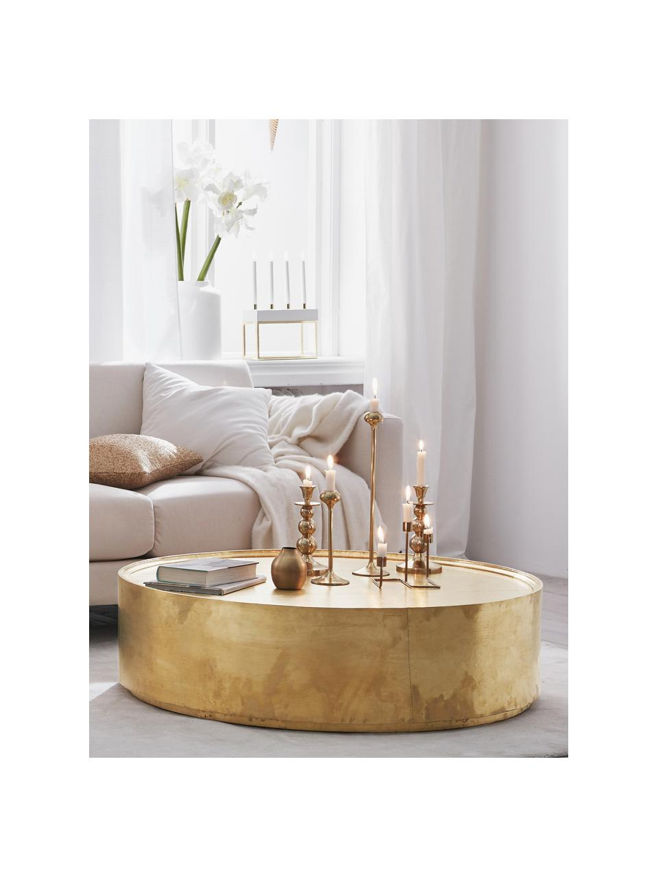 Tavolino da salotto in ottone Malibu, Superficie: ottone, Struttura: legno, pannello di fibra , Ottone, Ø 110 x Alt. 30 cm
