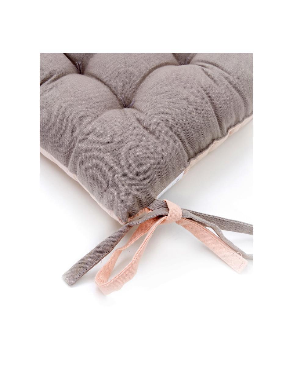 Dwustronna poduszka na krzesło Duo, 2 szt., Pudroworóżowy, szary, S 35 x D 35 cm