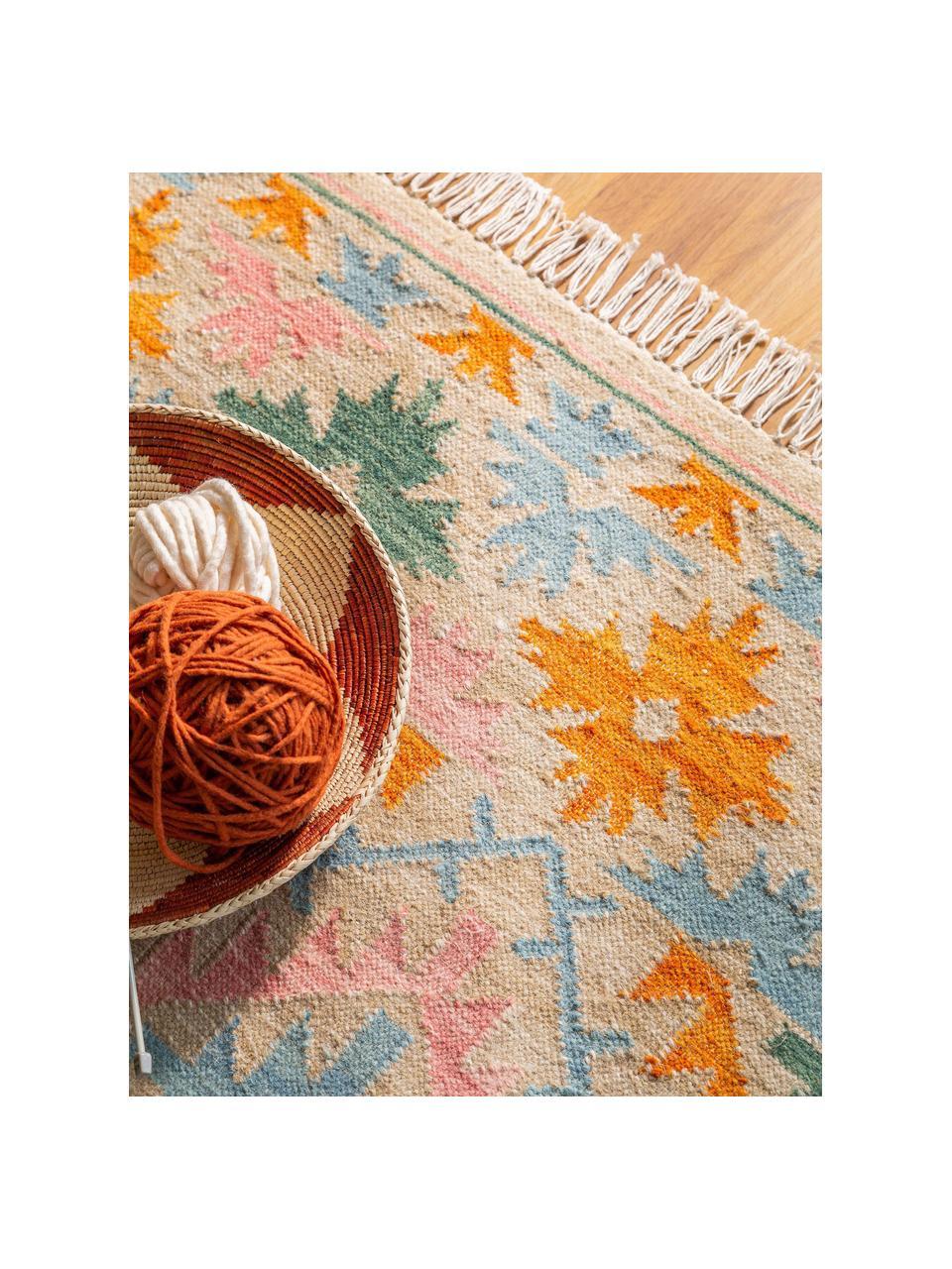 Ręcznie tkany dywan kilim z frędzlami Zohra, 90% wełna, 10% bawełna Włókna dywanów wełnianych mogą nieznacznie rozluźniać się w pierwszych tygodniach użytkowania, co ustępuje po pewnym czasie, Beżowy, wielobarwny, S 120 x D 170 cm (Rozmiar S)