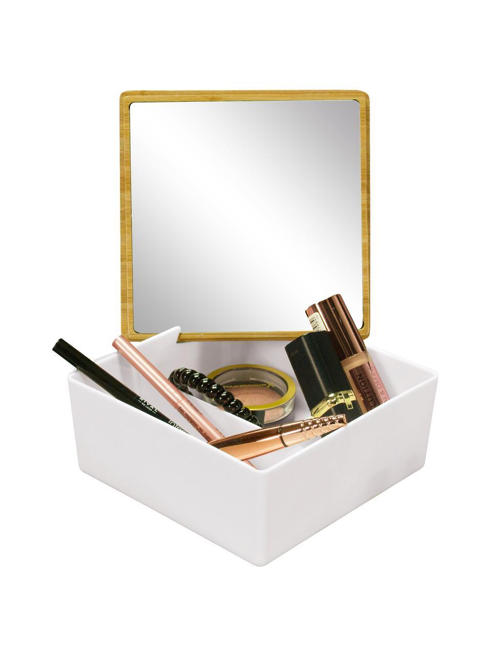 Contenitore in legno con specchietto integrato Timber, Superficie dello specchio: lastra di vetro, Scatola: polipropilene, Coperchio: bambù, Bianco, Larg. 14 x Alt. 6 cm