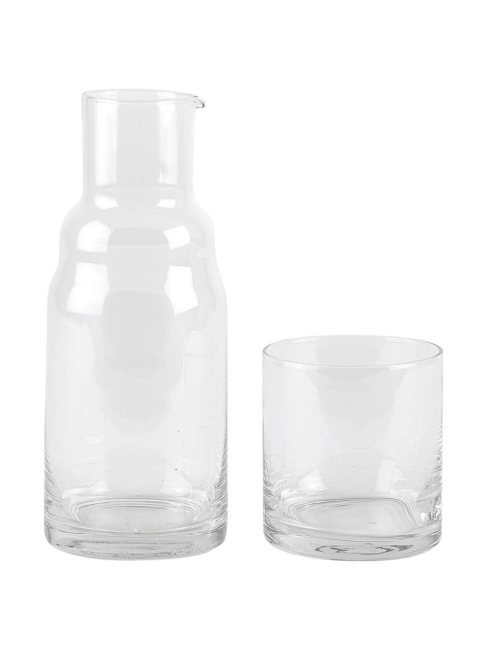 Wasserkaraffe Wadi mit Glas, 800 ml, 2er-Set, Glas, Transparent, H 21 cm