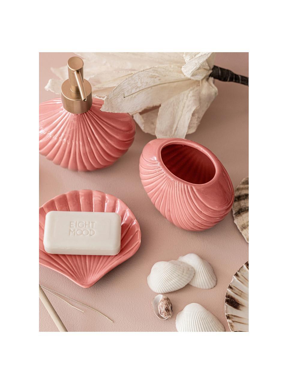 Dozownik do mydła Muschel, Kamionka, tworzywo sztuczne, Blady różowy, odcienie złotego, S 12 x W 16 cm