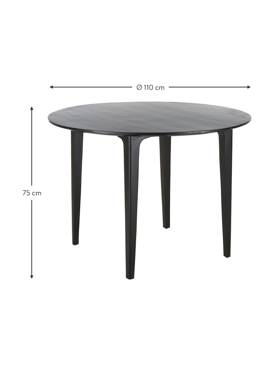 Runder Esstisch Archie mit Mangoholz, Ø 110 cm, Massives Mangoholz, lackiert, Mangoholz, schwarz lackiert, Ø 110 x H 75 cm