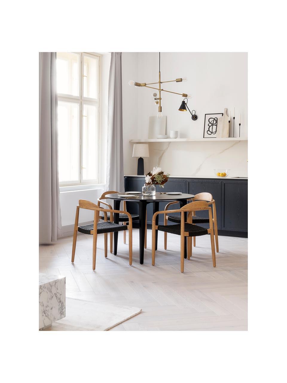 Tavolo rotondo in legno massello Archie, Ø110 cm, Legno massello di mango verniciato, Legno di mango verniciato nero, Ø 110 x Alt. 75 cm