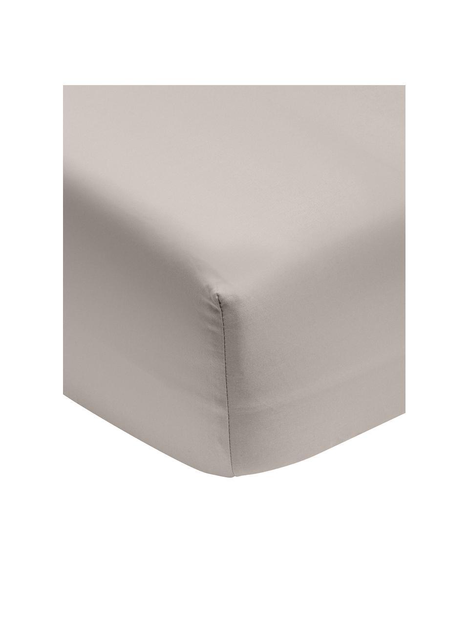 Prześcieradło z gumką z organicznej satyny bawełnianej Premium, Taupe, S 180 x D 200 cm