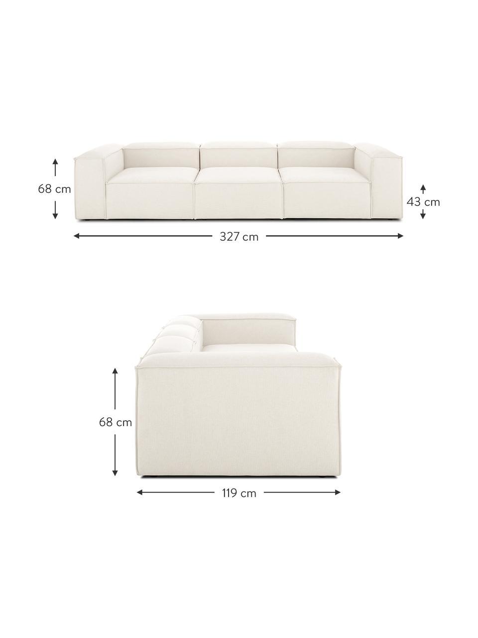 Modulares Sofa Lennon (4-Sitzer) in Beige, Bezug: Polyester Der hochwertige, Gestell: Massives Kiefernholz, Spe, Füße: Kunststoff Die Füße befin, Webstoff Beige, B 327 x T 119 cm