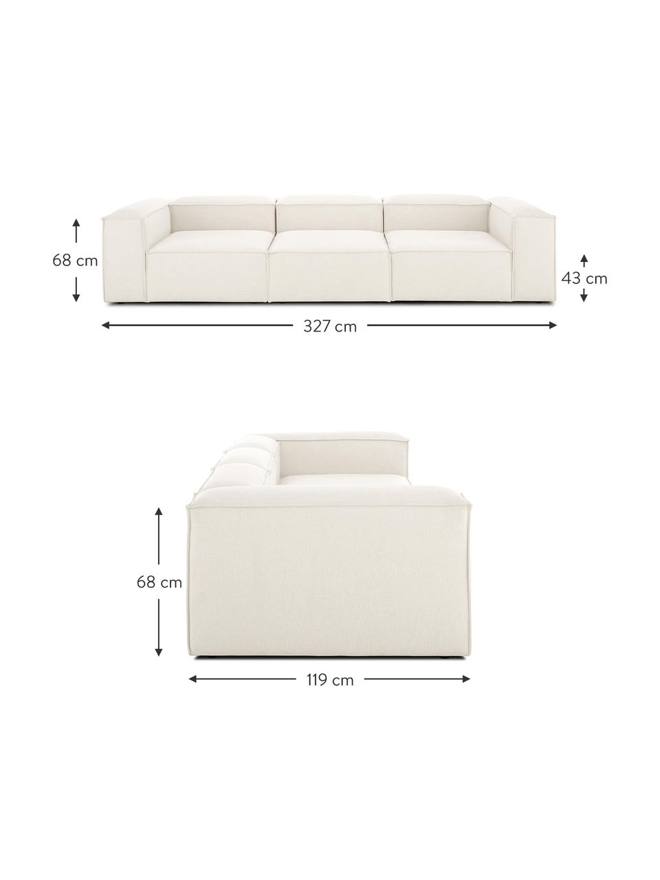 Sofa modułowa Lennon (4-osobowa), Tapicerka: poliester Dzięki tkaninie, Stelaż: lite drewno sosnowe, skle, Nogi: tworzywo sztuczne Nogi zn, Beżowy, S 327 x G 119 cm